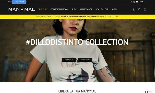 Sviluppo eCommerce di T-Shirt su Shopify