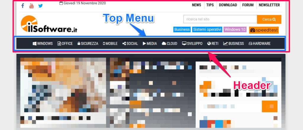 header top menu