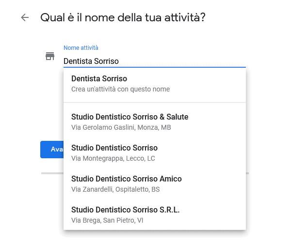 nome attività google my business