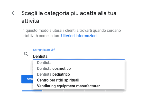 Categoria Google My Business