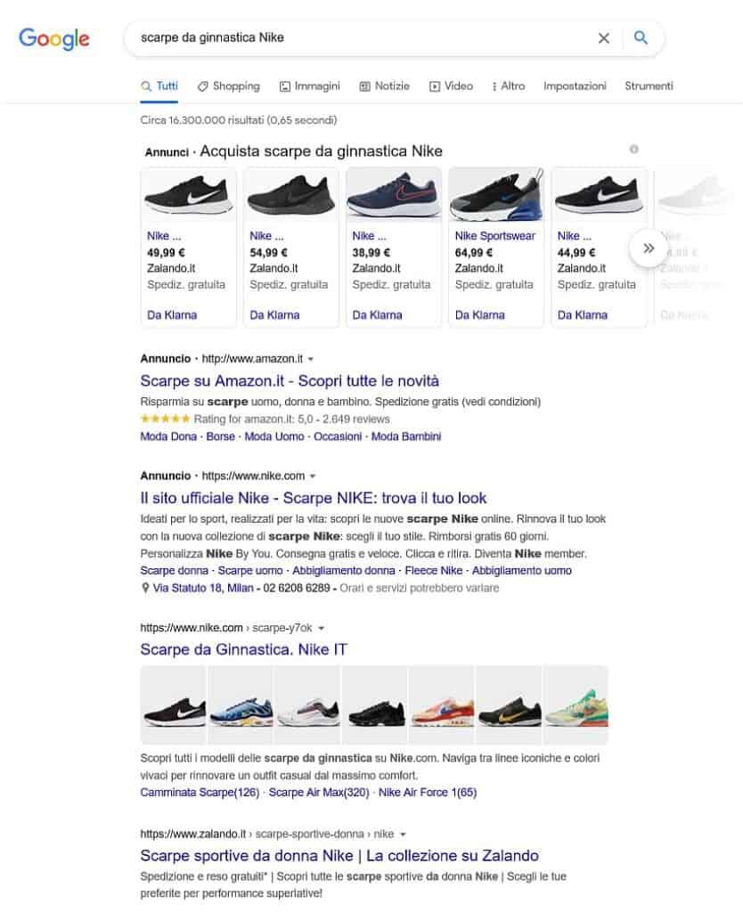 scarpe nike ricerca google keyword long tail