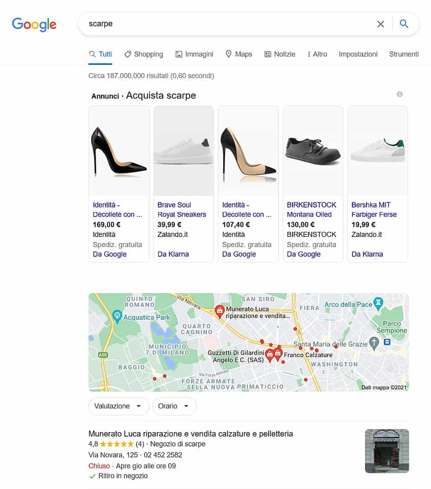 scarpe ricerca google